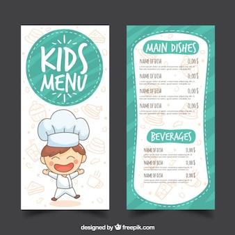 Menu van het restaurant kids 'in de hand getekende stijl
