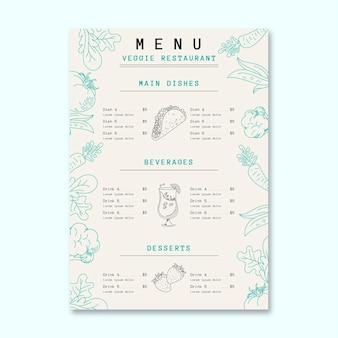 Menu vegetarisch restaurant sjabloon