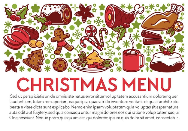 Menu voor kerstvakantie en wintervieringen. banner met tekst, vleesgerechten en desserts voor speciale gelegenheid. rundvlees en kip, kopje koffie of thee, speculaaskoekjes, vector in flat