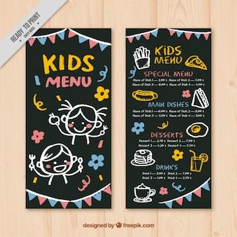 Menu voor kinderen met slingers en gele details