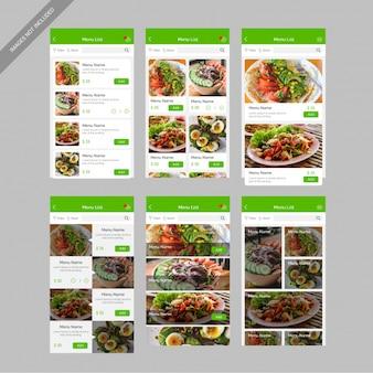 Menulijst restaurant voedsel mobiele app gebruikersinterfaceontwerp
