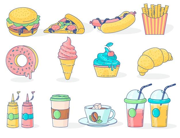 Menupictogrammen voor fastfood