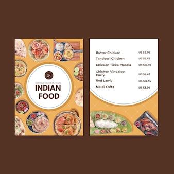 Menusjablonen met indiaas eten