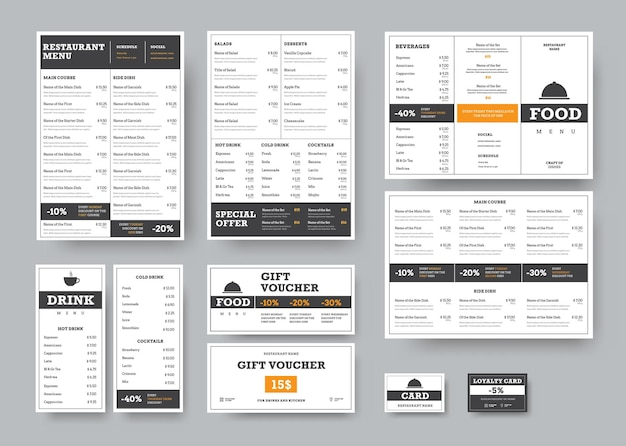 Menusjablonen voor cafés en restaurants met horizontale ontwerpelementen