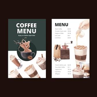 Menusjabloon met koffie in aquarel stijl