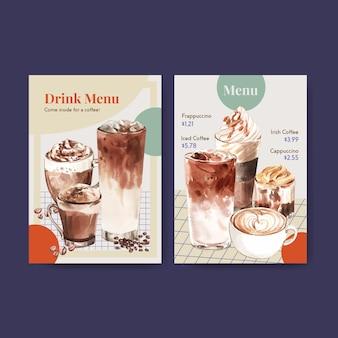 Menusjabloon met koreaanse koffie stijl concept voor restaurant en bistro aquarel