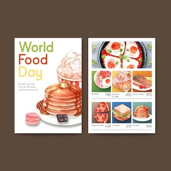 Menusjabloon met wereldvoedseldag conceptontwerp voor restaurant en voedselwinkel aquarel