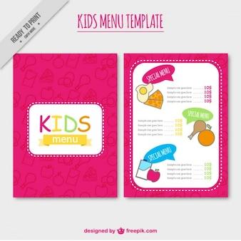 Menusjabloon roze kids '