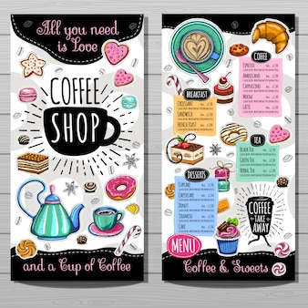 Menusjabloon voor coffeeshop