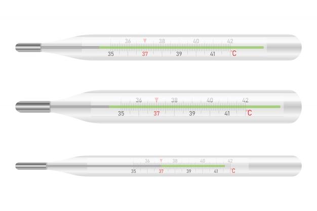 Mercury-thermometerontwerpillustratie op witte achtergrond wordt geïsoleerd die