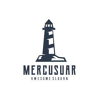 Mercusuar silhouet retro ontwerp illustratie