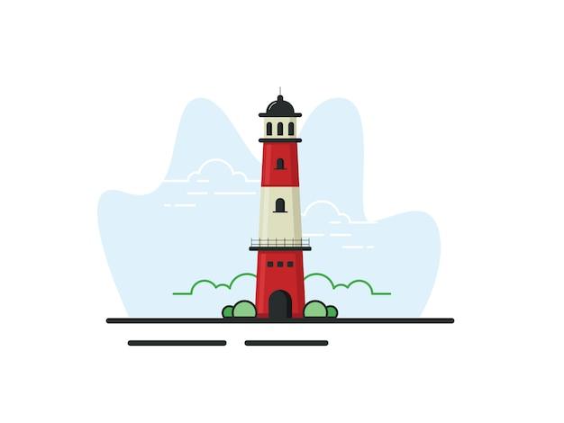 Mercusuar toren illustratie in vlakke stijl