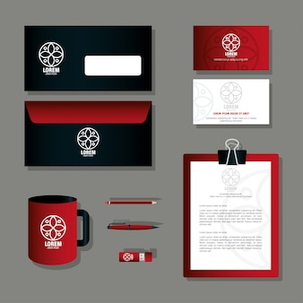Merk mockup huisstijl, mockup kantoorbenodigdheden, kleur rood met bord wit