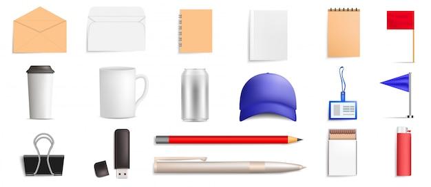 Merk mockup pictogramserie. realistische set van merk mockup vector iconen voor webdesign geïsoleerd op een witte achtergrond