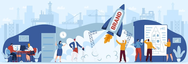 Merk opstarten teamwerk bedrijfsconcept vectorillustratie, cartoon platte zakenman ondernemer mensen team lancering raket