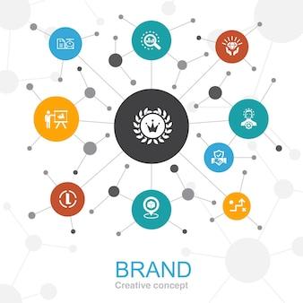 Merk trendy webconcept met pictogrammen. bevat iconen als marketing, onderzoek, merkmanager, strategie