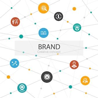 Merk trendy websjabloon met eenvoudige pictogrammen. bevat elementen als marketing, onderzoek, merkmanager, strategie