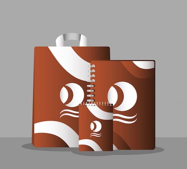 Merk van notebooks en boodschappentassen