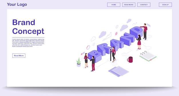Merk webpagina vector sjabloon met isometrische illustratie, bestemmingspagina
