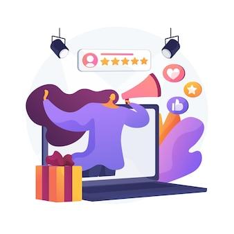 Merkambassadeur abstract concept illustratie. officiële merkvertegenwoordiger, handelsmerkambassadeur, marketingstrategie, mediafiguur, public relations-persona, influencer
