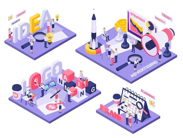 Merkconcept isometrische composities met logo-identiteit ideeën creëren planning lancering ruimtevaartuig schaakspel symbolen