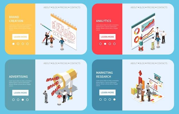 Merkcreatie reclame analytics marketing onderzoek horizontale concept banners instellen 3d isometrisch geïsoleerd op blauw