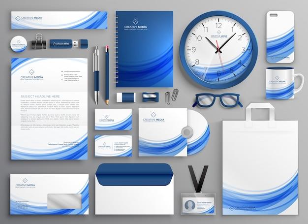 Merkidentiteit zakelijke briefpapier set in blauwe golvende vorm