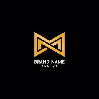 Merklogo ontwerp gouden monogram m-brief