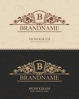 Merknaam monogram logo sjabloon met bloeit kalligrafische elegante ornamentelementen.