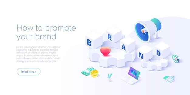 Merkstrategie opbouwen in isometrisch. identiteitsmarketing en reputatiemanagement. creatie van merkpersonage. webbanner lay-out sjabloon.