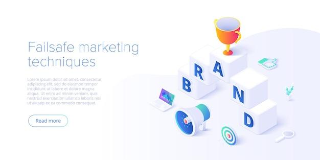 Merkstrategie opbouwen in isometrische illustratie. identiteitsmarketing en reputatiemanagement. creatie van merkpersonages. webbanner lay-out sjabloon.