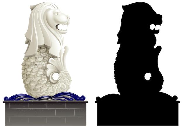 Merlion en zijn silhouet op witte achtergrond