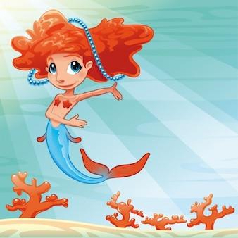 Mermaid achtergrond ontwerp Gratis Vector