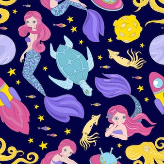 Mermaid galaxy naadloze patroon