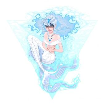 Mermaid het markeren van de hart met haar handen vector illustratie