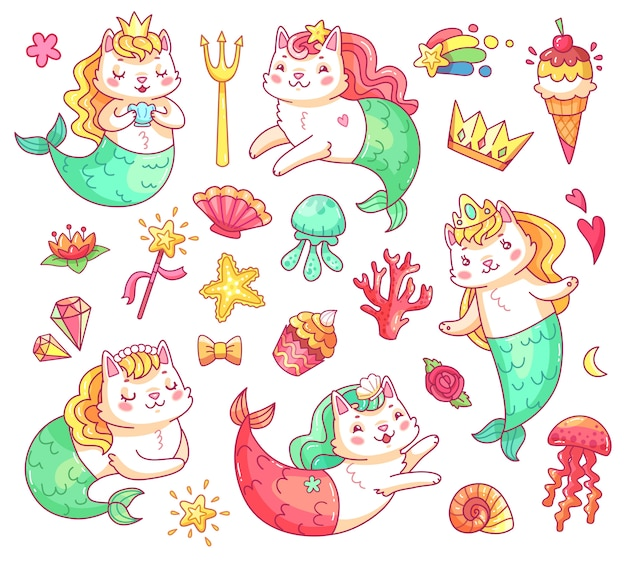 Mermaid kitty cat stripfiguren. onderwater katten zeemeerminnen vector set