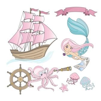 Mermaid schip sea travel color illustratie instellen voor afdrukken