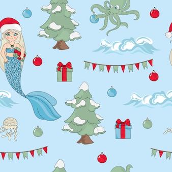 Mermaid vier patroon naadloze nieuwjaars kleur illustratie