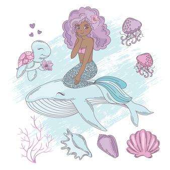 Mermaid walvis cartoon reizen tropische vectorillustratie