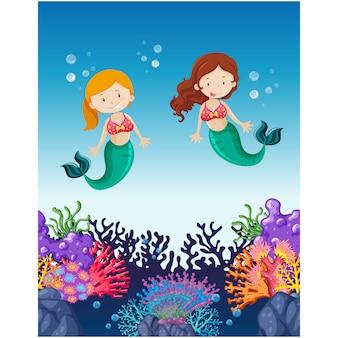 Mermaids achtergrond ontwerp