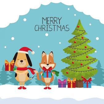 Merry chrismtas kaart cartoon