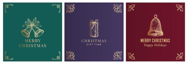 Merry christmas abstract vector stijlvolle etiketten tekenen of kaarten sjablonen set hand getrokken gouden bellen een...