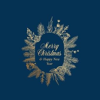 Merry christmas abstracte botanische groeten label met ovale frame banner en typografie. hand getekende sparren of dennentakken en bloemen. gouden glitter lay-out. geïsoleerd