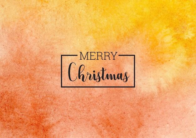 Merry christmas abstracte gele en rode aquarel achtergrond