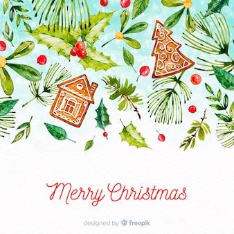 Merry christmas achtergrond aquarel stijl