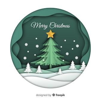 Merry christmas achtergrond in papier kunststijl