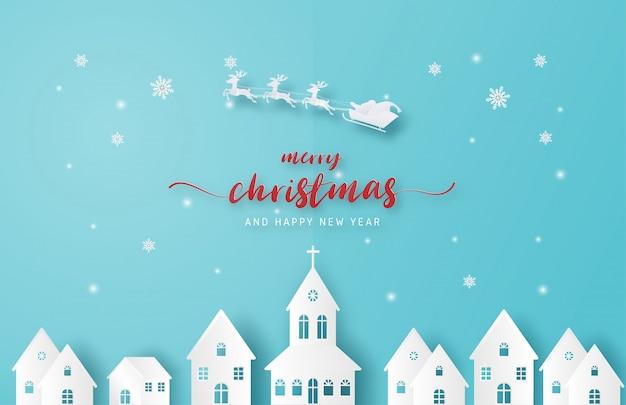 Merry christmas achtergrond. kerstman en rendieren vliegen over stad in papier stijl knippen op blauwe achtergrond.