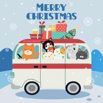 Merry christmas-achtergrond met een bestelwagenhoogtepunt van katten