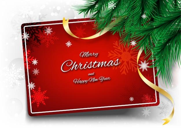 Merry christmas achtergrond met frame tekst en lint