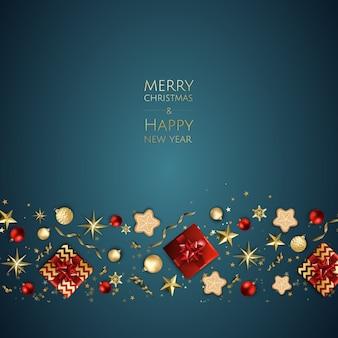 Merry christmas achtergrond met geschenkdoos, sneeuwvlokken en ballen.